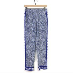 Joie Silk Blue Boho Print Ankle Elastic Waist Pant